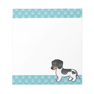 Black And Tan Piebald Smooth Coat Dachshund Dog Notepad