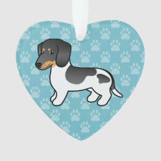 Black And Tan Piebald Smooth Coat Dachshund Dog Ornament