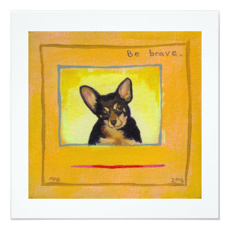 Black and tan small dog chihuahua minpin painting 13 cm x 13 cm square invitation card