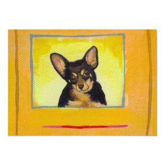 Black and tan small dog chihuahua minpin painting 13 cm x 18 cm invitation card