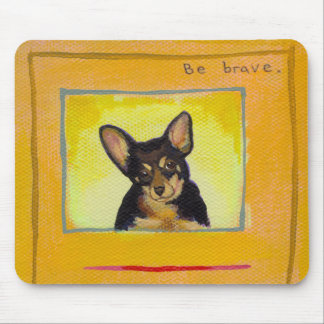 Black and tan small dog chihuahua minpin painting mouse mat