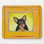 Black and tan small dog chihuahua minpin painting mousemats