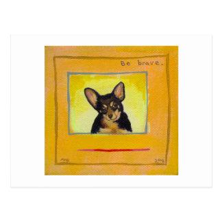 Black and tan small dog chihuahua minpin painting postcard
