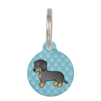 Black And Tan Smooth Coat Dachshund Cartoon Dog Pet Name Tag