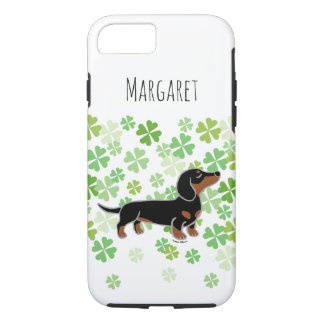 Black and Tan Smooth Dachshund Posing iPhone Case