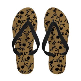 Black and tan vine flip flops