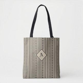 Black-and-Taupe Paw Print Stripe Bag with Monogram