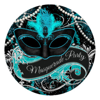 Black and Teal Blue Masquerade Party Personalized Invitation