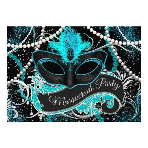 Black and Teal Blue Masquerade Party Custom Announcement