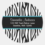 Black and Teal Blue Zebra Custom Address Label Round Stickers