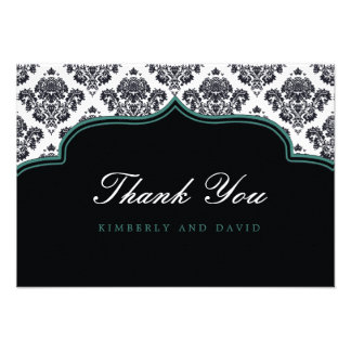 Black and Teal Damask Label Thank You Card