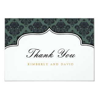 Black and Teal Damask Label Thank You Card Personalized Announcements