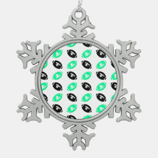 Black and Teal Football Pattern Snowflake Pewter Christmas Ornament