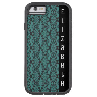 Black and Teal Lace Style Pattern Name Tough Xtreme iPhone 6 Case