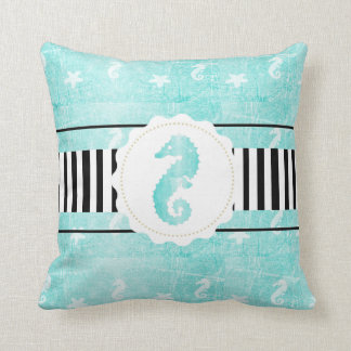 Black and Teal Modern Seahorse Throw Pillow
