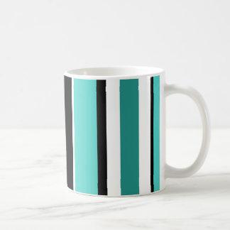 Black and Teal Stripes Basic White Mug