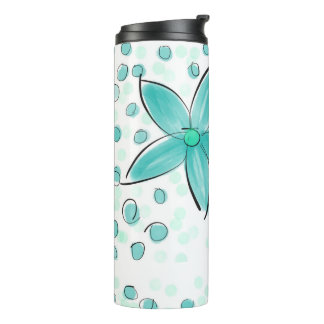 Black and Teal Watercolor Flower Polka Dot Sketch Thermal Tumbler