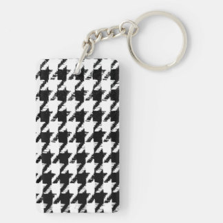 Black and Transparent Houndstooth Double-Sided Rectangular Acrylic Key Ring