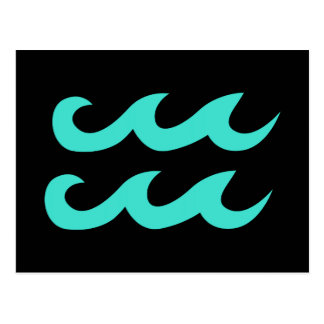 Black and Turquoise Aquarius Symbol Postcard