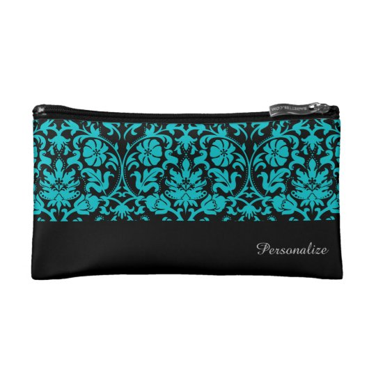 Black and Turquoise Damask Pattern   Personalise Makeup
