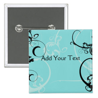 Black and Turquoise Floral 15 Cm Square Badge