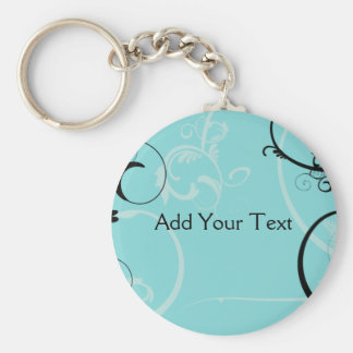 Black and Turquoise Floral Basic Round Button Key Ring