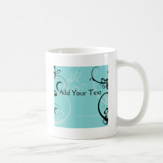 Black and Turquoise Floral Coffee Mug
