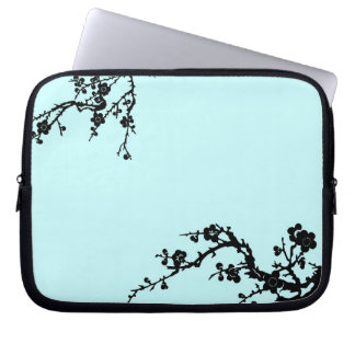 Black and Turquoise Floral Laptop Case Laptop Computer Sleeves