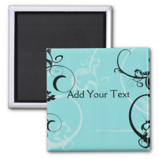 Black and Turquoise Floral Square Magnet