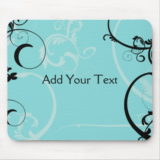 Black and Turquoise Floral Mouse Pad