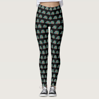 Black and Turquoise Happy Camper Leggings