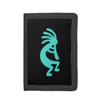 Black and Turquoise Kokopelli Tri-fold Wallets