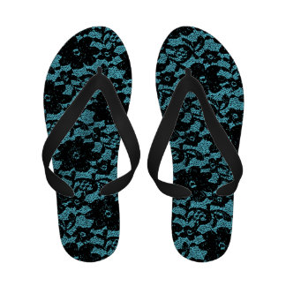 Black and turquoise lace flip flops