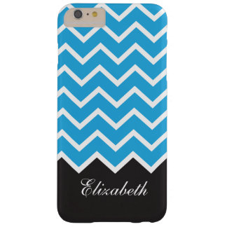 Black and Turquoise Modern Chevron Custom Monogram Barely There iPhone 6 Plus Case