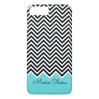 Black and Turquoise Modern Chevron Custom Monogram iPhone 8 Plus/7 Plus Case