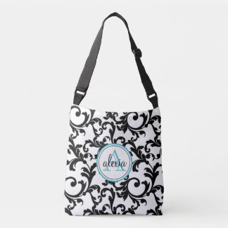 Black and Turquoise Monogrammed Damask Crossbody Bag