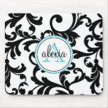 Black and Turquoise Monogrammed Damask Print Mousemat