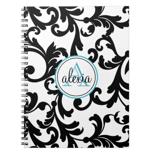 Black and Turquoise Monogrammed Damask Print Notebooks