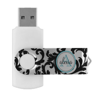 Black and Turquoise Monogrammed Damask USB Flash Drive