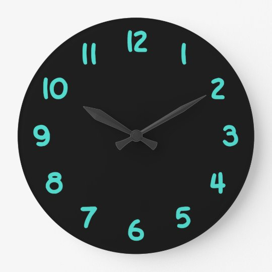 Black and Turquoise Numbers Wall Clocks