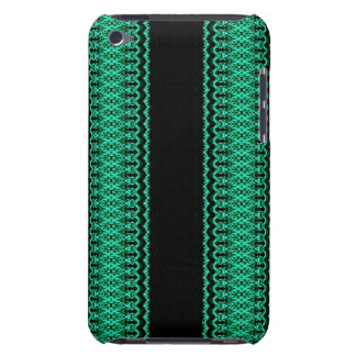 Black and Turquoise Ornate Stripes Barely There iPod Case