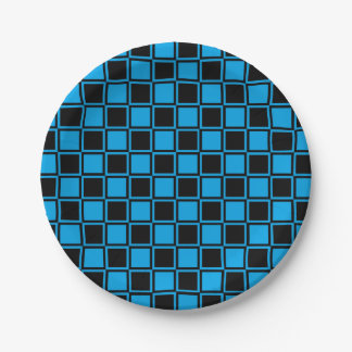 Black and Turquoise Outlined Squares Paper Plate