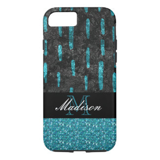 Black and Turquoise Pattern Trendy Modern Monogram iPhone 8/7 Case