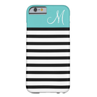Black and Turquoise Preppy Stripes Custom Monogram Barely There iPhone 6 Case