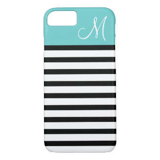 Black and Turquoise Preppy Stripes Custom Monogram iPhone 7 Case