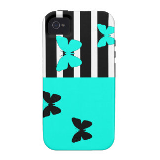 Black and turquoise stripes and butterflies Case-Mate iPhone 4 covers