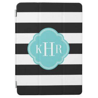 Black and Turquoise Wide Stripes Monogram iPad Air Cover