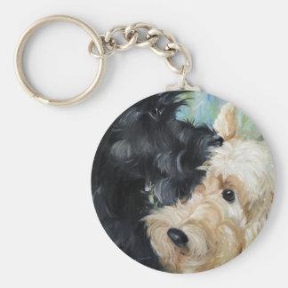 Black and wheaten Scottish terrier scottie art Basic Round Button Key Ring