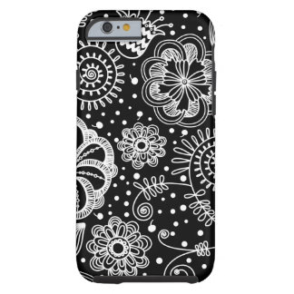 Black And Whire Retro Floral Lace Pattern Tough iPhone 6 Case