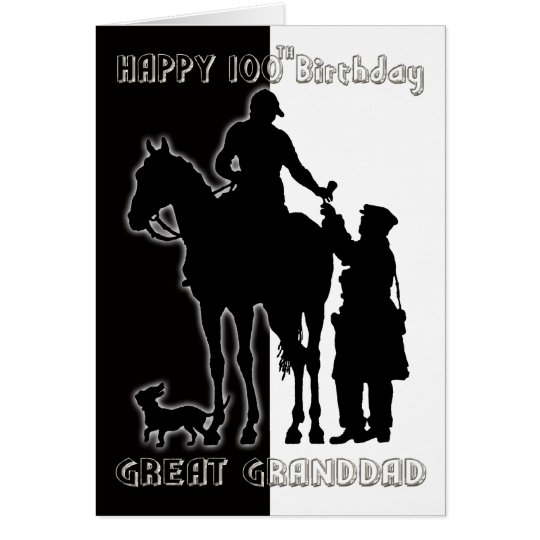 Black and White 100th Birthday Card Greatgrandad